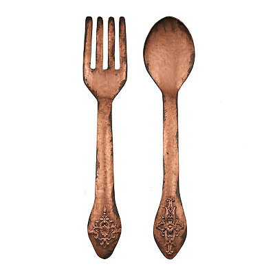 Copper Utensils Metal Plaques, Set of 2