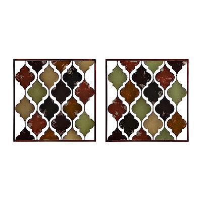 Valencia Tiles Metal Plaques, Set of 2