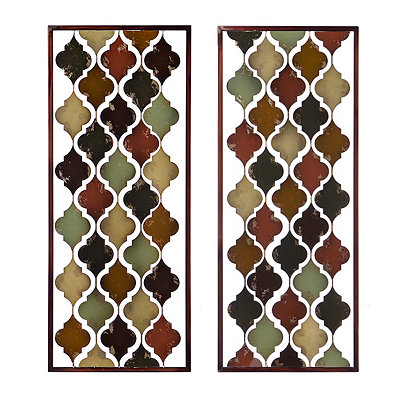 Valencia Tiles Panel Metal Plaque, Set of 2