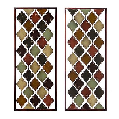 Valencia Tiles Panel Metal Plaque, Set of 2