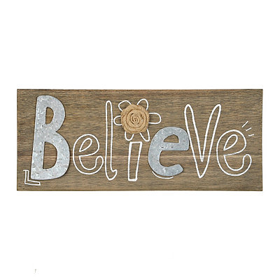 Galvanized Believe Wooden Plaque
