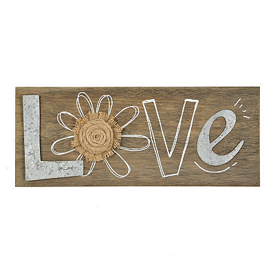 Galvanized Love Wooden Plaque