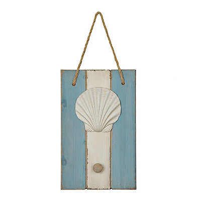 Scallop Shell Wooden Knob Hook