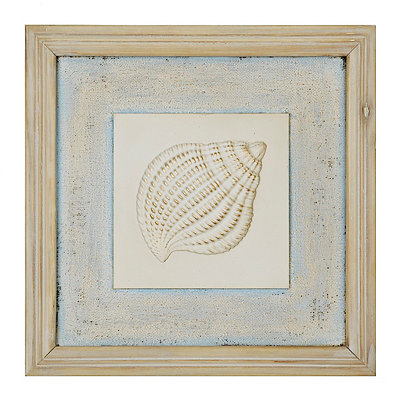 Distressed Spiral Shell Wooden Plaque