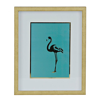 Teal and Gold Flamingo Shadowbox