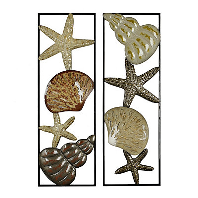 Seashell Panel Metal Plaques, Set of 2