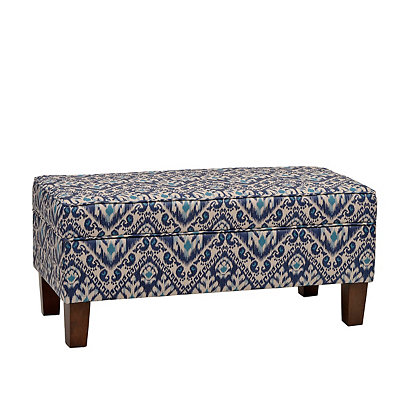 Blue Ikat Storage Bench