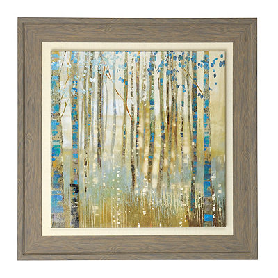 Teal Birches Framed Canvas Art Print