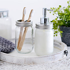 Clear Mason Jar Soap Pump and Holder Set