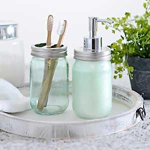 Green Mason Jar Soap Pump and Holder Set