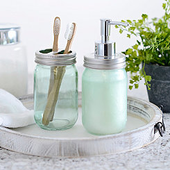 Green Mason Jar Soap Pump and Holder Set