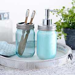 Blue Mason Jar Soap Pump and Holder Set
