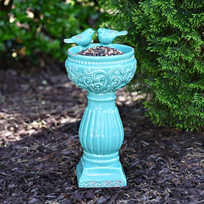 Turquoise Scroll Ceramic Bird Feeder