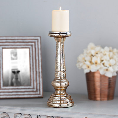 Polished Gold Mercury Glass Candlestick, 12 in.