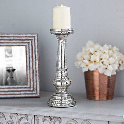 Polished Silver Mercury Glass Candlestick, 12 in.
