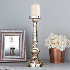 Polished Gold Mercury Glass Candlestick, 15 in.