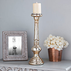 Polished Gold Mercury Glass Candlestick, 18 in.
