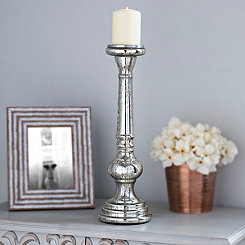 Polished Silver Mercury Glass Candlestick, 18 in.