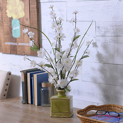 Ivory Blossom Arrangement in Ceramic Pot