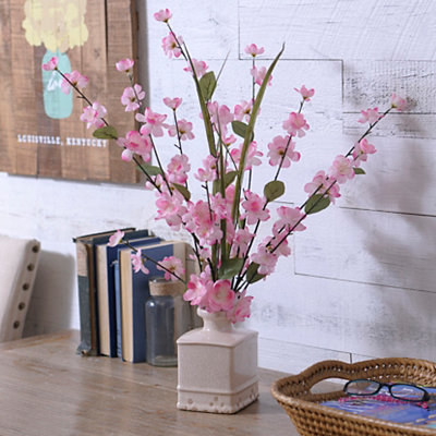 Pink Blossom Arrangement in Ceramic Pot