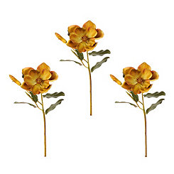 Tan Magnolia Stems, Set of 3