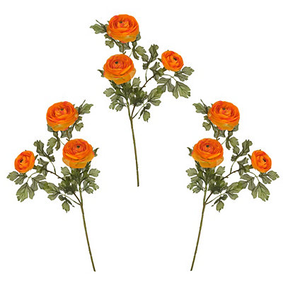 Orange Ranunculus Stems, Set of 3