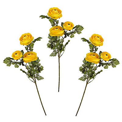 Yellow Ranunculus Stems, Set of 3