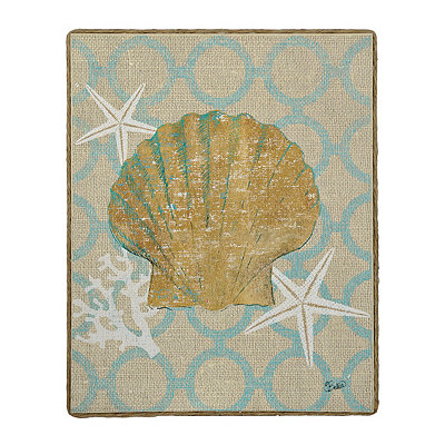 Burlap Seashell Framed Art Print