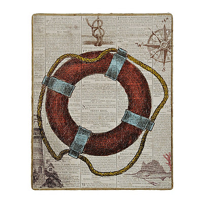 Life Preserver Newsprint II Framed Art Print