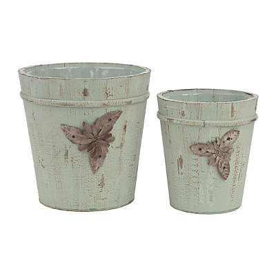 Distressed Green Wood Planters, Set of 2