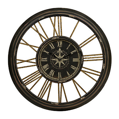 Monica Black and Gold Compass Metal Clock
