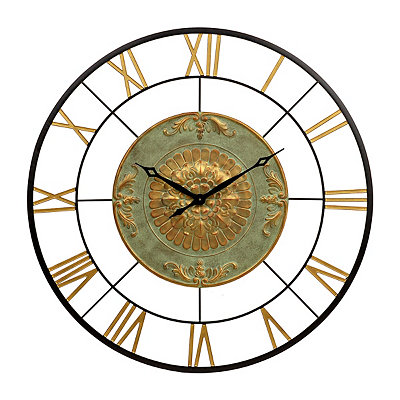 Kate Gold and Green Metal Clock