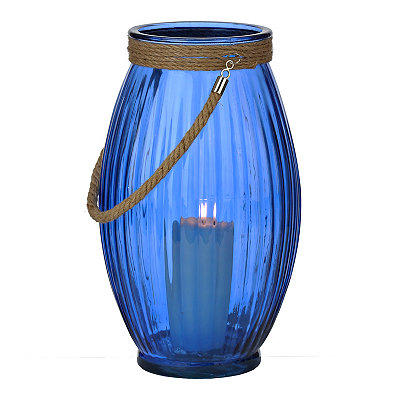 Cobalt Oval Lantern with Rope Handle