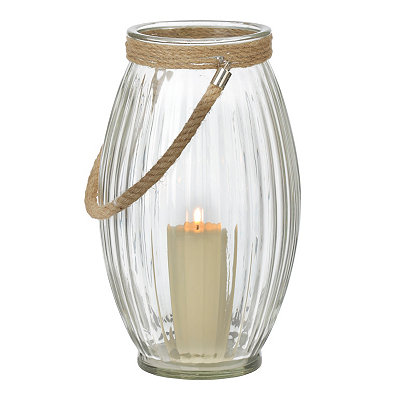 Clear Oval Lantern with Rope Handle