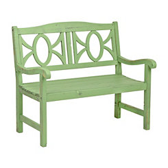 Distressed Green Wooden Outdoor Bench