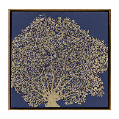 Navy Sea Fan Coral Canvas Art Print