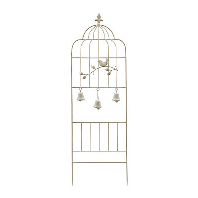 White Metal Bird and Bell Trellis