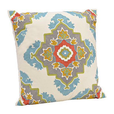 Spice and Aqua Aztec Medallion Pillow