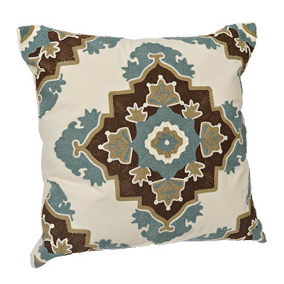 Aqua and Brown Aztec Medallion Pillow