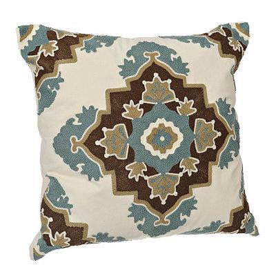 Aqua and Brown Aztec Medallion Pillow