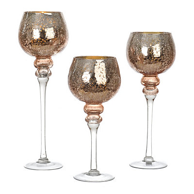 Rose Gold Crackle Glass Charismas, Set of 3