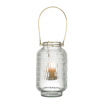 Clear Embossed Lantern with Gold Handle