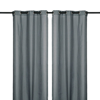 Charcoal Jakarta Curtain Panel Set, 84 in.