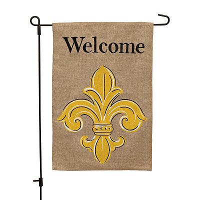 Yellow Fleur-de-Lis Welcome Burlap Flag Set