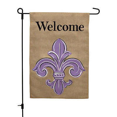 Purple Fleur-de-Lis Welcome Burlap Flag Set