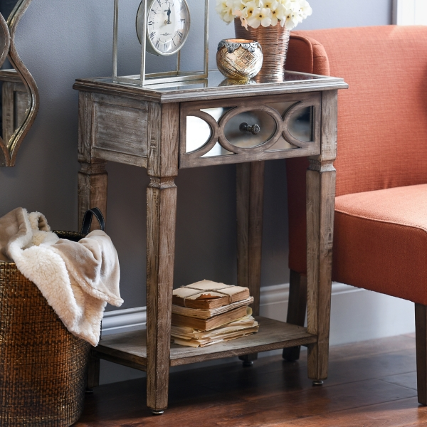 lillian weathered 1drawer accent table