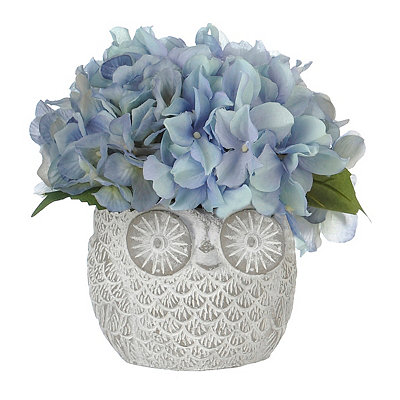 Blue Hydrangea Arrangement in Owl Planter