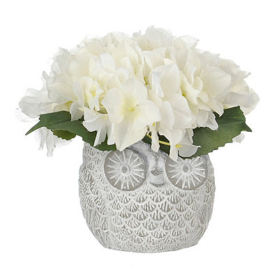 Ivory Hydrangea Arrangement in Owl Planter