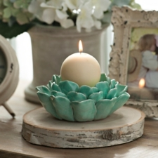 Blue Lotus Flower Candle Holder