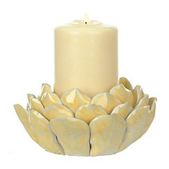 Yellow Lotus Flower Candle Holder